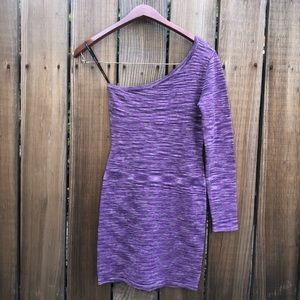 Bebe one shoulder purple bodycon metallic dress s